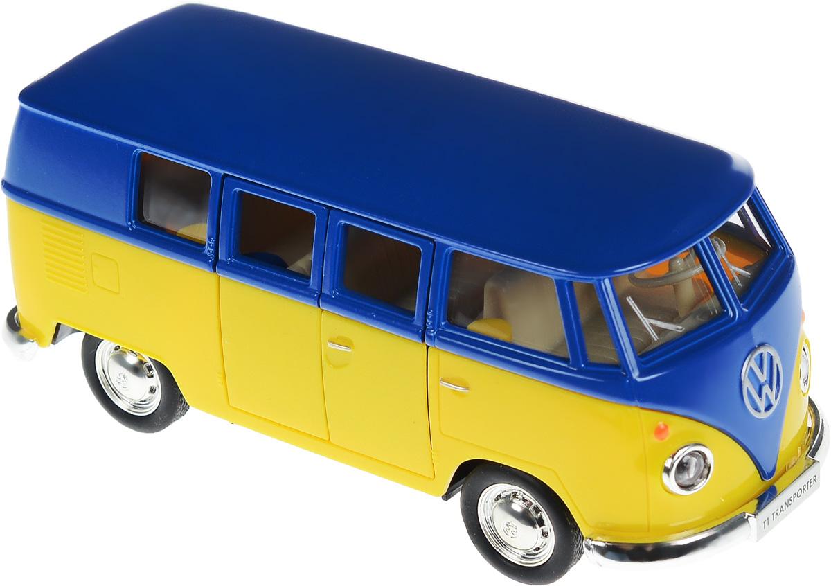 Uni-Fortune Toys Модель автобуса Volkswagen T1 Transporter цвет желтый синий554025M(G)_желтый, синийМодель автобуса Uni-Fortune Toys Volkswagen T1 Transporter привлечет внимание не только ребенка, но и взрослого. Модель является точной уменьшенной копией пассажирского автобуса компании Volkswagen в масштабе 1/32. Корпус автобуса выполнен из металла с пластиковыми элементами. Модель обладает инерционным механизмом. Чтобы привести игрушку в движение необходимо ее отвести назад, затем отпустить - и она быстро поедет вперед. Прорезиненные колеса обеспечивают надежное сцепление с любой поверхностью пола. Двери автобуса открываются. Такая замечательная модель компактного размера позволит ребенку разыграть множество игровых ситуаций.