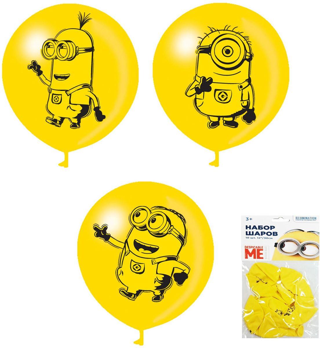 Universal Миньоны Набор детских воздушных шаров 10 шт27108Шары Миньоны яркого солнечного цвета украсят любой праздник, подняв настроение всем - и детям, и взрослым. А надувание шаров еще и чрезвычайно полезно: такое упражнение развивает дыхательную систему, что благотворно влияет на работу всего организма. В наборе 10 желтых латексных шаров диаметром 30 см c односторонней печатью. В ассортименте 3 дизайна.