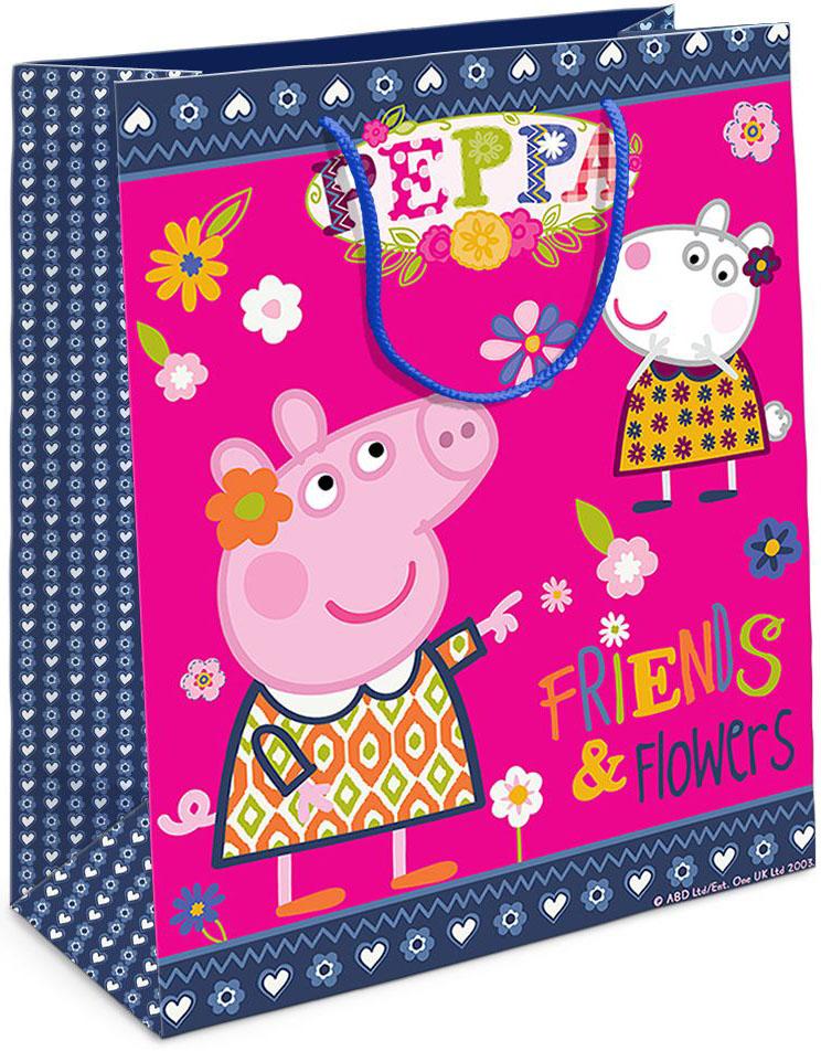 Peppa Pig Пакет подарочный Пеппа и Сьюзи 23 х 18 х 10 см31020Подарочный пакет Peppa Pig Пеппа и Сьюзи выполнен из плотной бумаги и оформлен ярким красочным изображением в виде свинки Пеппы и Сьюзи. Дно изделия укреплено плотным картоном, который позволяет сохранить форму пакета и исключает возможность деформации дна под тяжестью подарка. Для удобной переноски у пакета имеются две текстильные ручки. Подарок, преподнесенный в оригинальной упаковке, всегда будет самым эффектным и запоминающимся. Окружите близких людей вниманием и заботой, вручив презент в нарядном, праздничном оформлении.