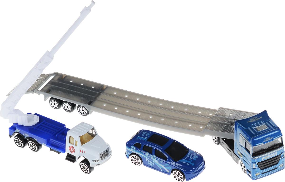 Shantou Трейлер с машиной и автокраном цвет синий белыйQ266-H36114_синий, белыйТрейлер с машиной и автокраном Shantou непременно понравится любому мальчику. Набор выполнен из яркого металла с элементами из прочного пластика. Колеса машинок обладают свободным ходом. Прицеп трейлера может отсоединяться, задняя панель откидывается. Стрела автокрана легко поворачивается, а лестница - выдвигается. С таким замечательным набором малыш сможет устраивать различные соревнования и придумывать захватывающие сюжеты для игр.