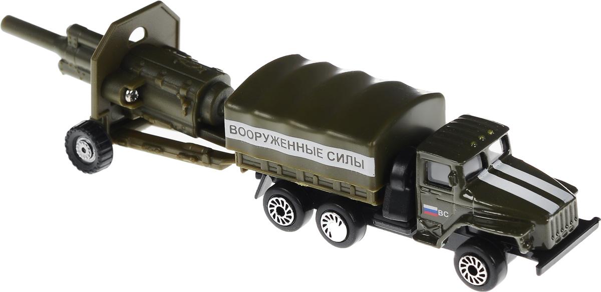 ТехноПарк Грузовик с пушкойSB-15-59+60-WBГрузовик с пушкой ТехноПарк отлично подойдет для коллекции военных машинок вашего ребенка. К грузовику в комплекте поставляется самоходная зенитная пушка, она цепляется к заднему фаркопу грузовика. Колеса машины и пушки обладают свободным ходом. Набор выполнен из металла с элементами из прочного безопасного пластика. Грузовик имеет вместительный кузов, закрытый съемным тентом. Ваш ребенок будет в восторге от такого подарка!