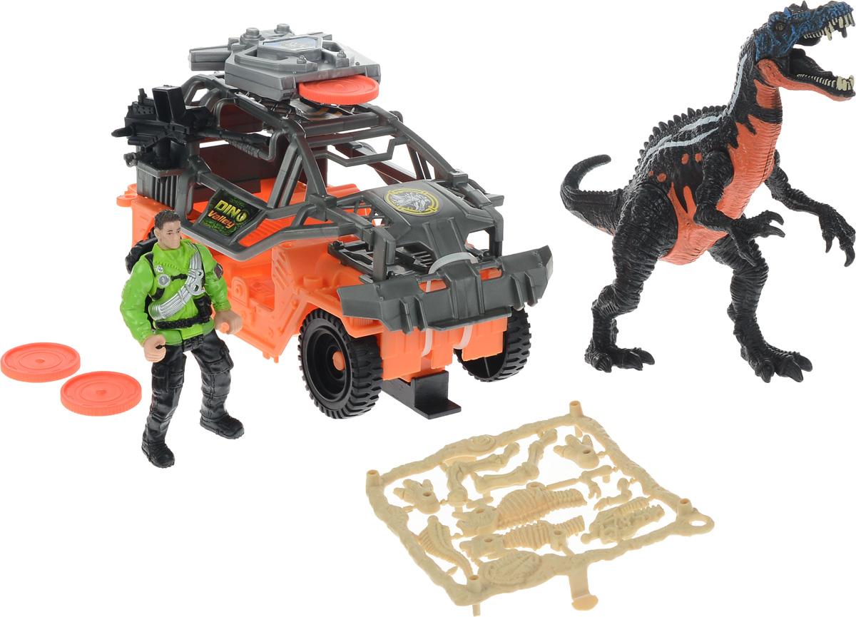 Chap Mei Игровой набор Динозавр Барионикс и охотник на джипе520002-1Игровой набор Chap Mei Динозавр Барионикс и охотник на джипе непременно придется по душе вашему малышу. Голова фигурки охотника поворачивается, руки и ноги двигаются. У фигурки динозавра подвижные конечности, пасть открывается. Фигурка охотника легко помещается в мощный джип. У машины большие ребристые колеса со свободным ходом. Верх кабины дополнен орудием с пусковым устройством. В наборе имеются три диска для орудия. Игровой набор способствует развитию у ребенка цветового восприятия, мелкой моторики, хватательного рефлекса, осязания и координации движений. Игрушка разовьет интерес ребенка к изучению живого мира нашей планеты. Отлично подходит для сюжетно-ролевых игр, которые способствуют развитию памяти и воображения у малыша.
