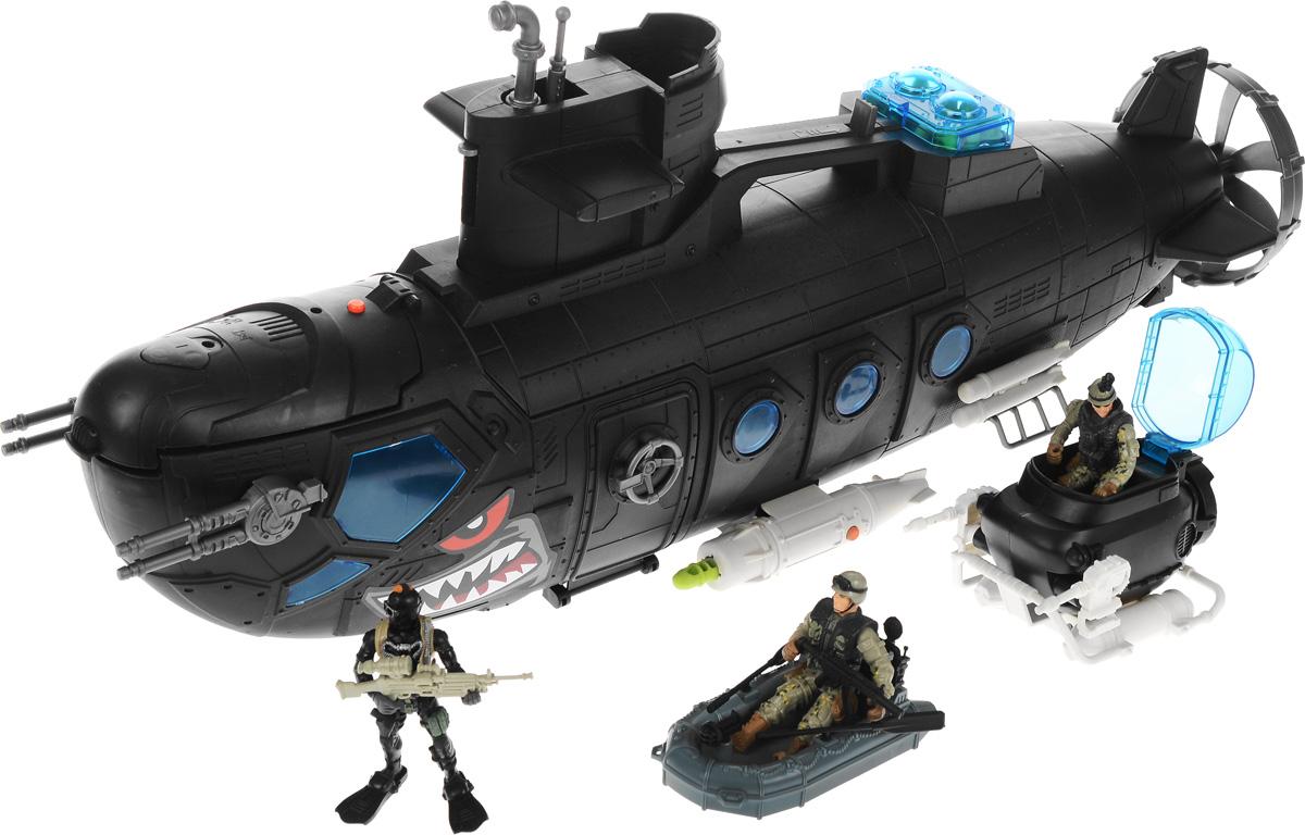 Chap Mei Игровой набор Боевая субмарина с батискафом521016Замечательный игровой набор Chap Mei Боевая субмарина с батискафом состоит из огромной субмарины с необычными грузами, которая может превратиться в походный боевой комплекс. Набор включает в себя все, что нужно для настоящего любителя и ценителя игровых военных действий. Подводная лодка оснащена световыми и звуковыми эффектами, они придадут играм больше реалистичности и, несомненно, привлекут внимание мальчишек. Все части комплекта изготовлены из качественного пластика. Корпус субмарины открывается, как центральная часть, так и носовая. Используя входящие в комплект аксессуары, ребенок может устроить интересные ролевые игры, а друзья с удовольствием к нему присоединятся. В наборе: подводная лодка, 3 солдатика с оружием, батискаф, лодка, торпедный аппарат с 12 торпедами, 2 листа с наклейками. Для работы игрушки необходимы 3 батарейки типа AG13 напряжением 1,5V (товар комплектуется демонстрационными).