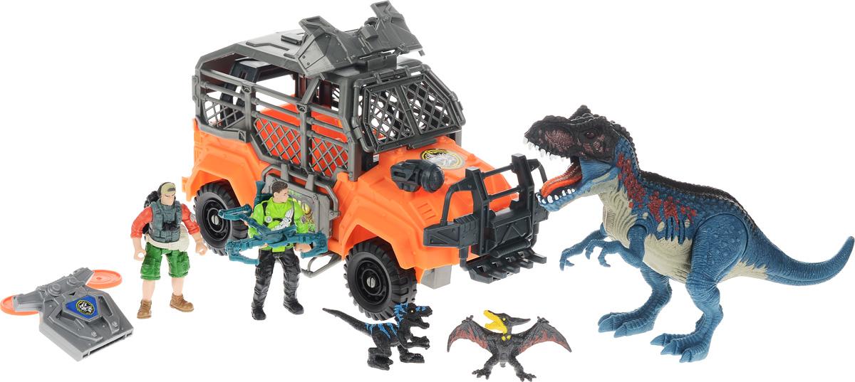 Chap Mei Игровой набор Большая охота на Тиранозавра520010Игровой набор Chap Mei Большая охота на Тиранозавра непременно придется по душе вашему малышу. В наборе джип, 2 фигурки охотников и 3 фигурки динозавров. Головы фигурок охотников поворачиваются, руки и ноги двигаются. У фигурки Тиранозавра подвижные конечности, пасть открывается. Фигурка Тиранозавра оснащена звуковыми и световыми эффектами. Когда он открывает пасть, слышен грозный рёв динозавра, язык и глаза горят красным светом. Фигурки охотников легко помещаются в мощный джип. Вместе с охотниками в машине могут разместиться и две маленькие фигурки динозавриков. У машины большие ребристые колеса со свободным ходом. Верх кабины дополнен орудием с пусковым устройством, стреляющим дисками. В наборе имеются три диска для орудия. Игровой набор способствует развитию у ребенка цветового восприятия, мелкой моторики, хватательного рефлекса, осязания и координации движений. Игрушка разовьет интерес ребенка к изучению живого мира нашей планеты. Отлично...