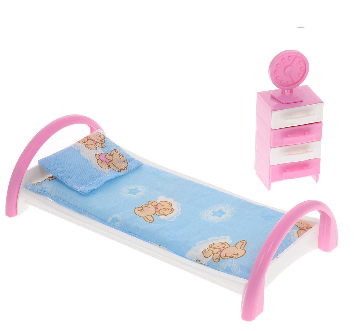 Форма Набор мебели для кукол Кровать с тумбочкой цвет голубойС-50-Ф_голубойМебель для кукол Форма Кровать с тумбочкой изготовлена для кукол не выше 20 см. Эти предметы мебели создают настоящий уют в кукольной спальне. Игровой набор мебели для куклы Кровать с тумбочкой включает в себя кроватку для куклы с постельным бельем на ней. В наборе есть тумбочка с ящичками. У тумбочки выдвигаются ящички, на кровати есть подушка и матрац. В набор входят часы, которые можно установить на тумбочку. Весь набор изготовлен из прочного и безопасного пластика. Порадуйте свою малышку таким замечательным подарком!