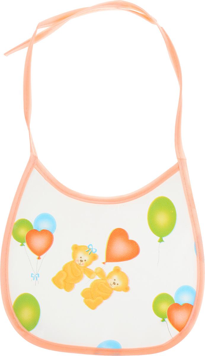 Колорит Нагрудник Мишки с шариками цвет белый персиковый 17 см х 17 см