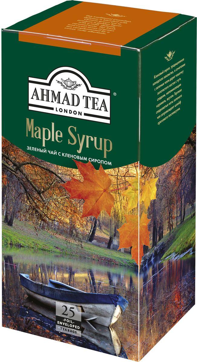 Ahmad Tea Maple Syrup зеленый чай в пакетиках, 25 шт1655Кленовый сироп, традиционное канадское лакомство, в сочетании с зеленым чаем дарит чашечку золотистого настоя с чуть сладким, напоминающим карамель, вкусом. Терпкие сладковатые ноты зеленого чая сопровождает шлейф орехового послевкусия.