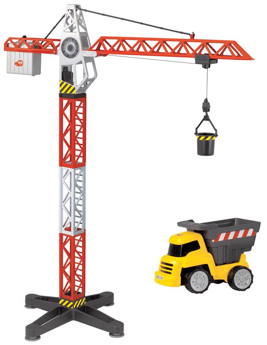Dickie Toys Башенный кран и самосвал3463337Башенный кран и самосвал Dickie Toys - это прекрасный подарок для маленького строителя. Является точной копией настоящего крана. Высокий многофункциональный кран и дополняющий его грузовик-самосвал сделают игру в строителей более реалистичной. Все игрушки в наборе выполнены из качественной пластмассы. Кран имеет функцию поднятия и опускания стрелы и поворачивается на 360 градусов. Также в комплекте вместительная корзина для груза, которая цепляется за крюк. С краном Dickie Toys ваш ребенок сможет развернуть настоящую строительную площадку. Играя в сюжетно- ролевые игры, ребенок развивает фантазию, пространственное мышление и адаптируется через игру к окружающему миру. Для работы игрушки требуются 2 батарейки 1.5 В типа ААА (в комплект не входят).