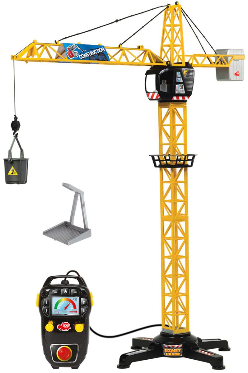 Dickie Toys Башенный кран 100 см3462411Башенный кран Dickie Toys с проводным дистанционным управлением - это прекрасный подарок для маленького строителя. Игрушка является точной копией настоящего крана. С его помощью малыш сможет поднимать и перемещать груз. Левый рычаг на пульте управления поможет переместить грузовую тележку по стрелке подъемного крана. Правый рычаг необходим для регулировки поворота стрелы. Максимально возможный угол поворота составляет 350°. Кнопки на пульте предназначены для регулировки высоты поднимаемого груза. В основании крана имеется широкая платформа для обеспечения устойчивости игрушки. Также в комплект входит вместительный контейнер для груза, который цепляется за крюк. С краном Dickie Toys ваш ребенок сможет развернуть настоящую строительную площадку. Играя в сюжетно- ролевые игры, ребенок развивает фантазию, пространственное мышление и адаптируется через игру к окружающему миру. При управлении пультом будет развиваться моторика пальчиков. Для работы...