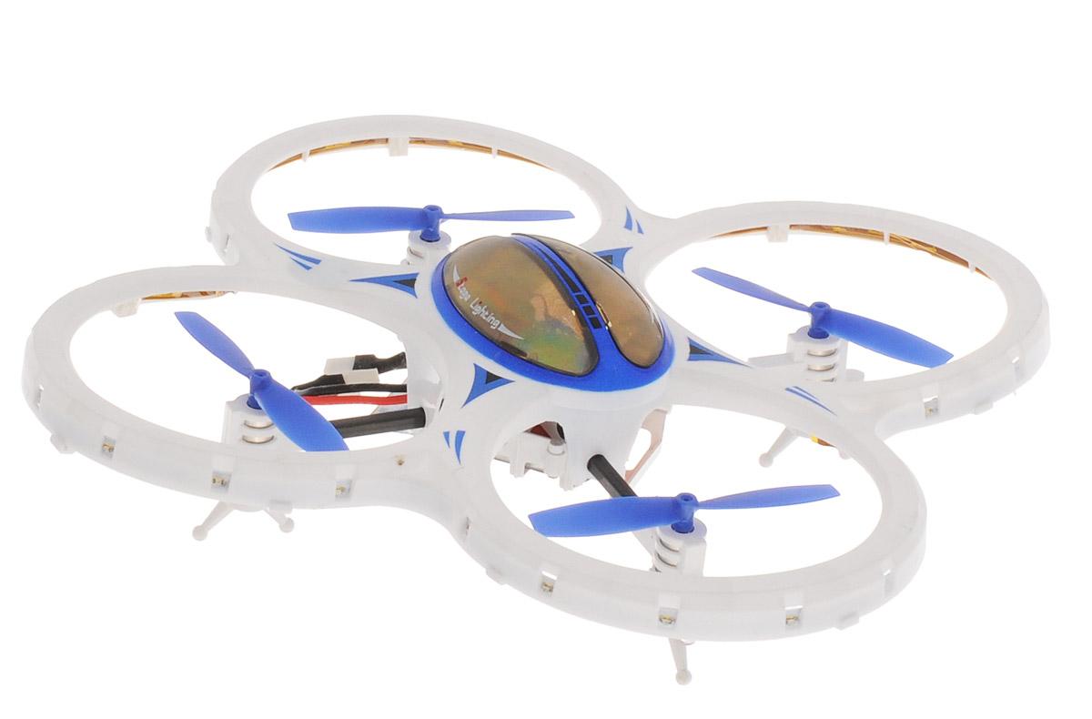 Властелин небес Квадрокоптер на радиоуправлении Звездочка цвет белый голубойblue-white/astBH3447, BH3447Квадрокоптер на радиоуправлении Властелин небес Звездочка увлечет в полет не только ребенка, но и взрослого. Легкий в управлении квадрокоптер отлично держится в воздухе даже в ветреную погоду. Стильный корпус игрушки выполнен в белом цвете и имеет четыре синих винта. 6-осевой гироскоп гарантирует высокую стабильность в полете. Имеются световые эффекты. Квадрокоптер предназначен для запуска в помещении и на открытом воздухе. Функции: Вверх, вниз, вперед, назад, повороты, вращение, зависание, сальто 360°, турбо-ускорение, режим автоориентации. Управляется квадрокоптер с помощью 4-канального дистанционного пульта на частоте 2,4GHz. Дальность управления более 50 метров. Работает квадрокоптер от встроенного аккумулятора. Заряжается аккумулятор от порта USB (кабель зарядки в комплекте). Для работы пульта управления необходимы 4 батарейки типа АА напряжением 1,5V (не входят в комплект).