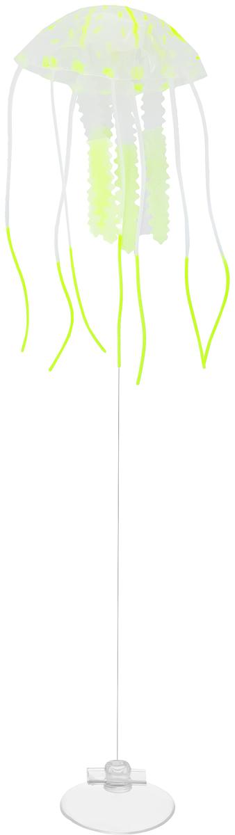 Декорация для аквариума Barbus Медуза, малая, силиконовая, цвет: светло-зеленый, 5 х 5 х 15 смDecor 077Декорация Barbus Медуза, выполненная из высококачественного силикона, станет оригинальным украшением для вашего аквариума. Изделие отличается реалистичным исполнением, в воде создается имитация настоящей медузы. Декорация абсолютно безопасна, нейтральна к водному балансу, устойчива к истиранию краски, не токсична, подходит как для пресноводного, так и для морского аквариума. Крепится при помощи присоски. Такая декорация наиболее подвижна в постоянном потоке воды. Для красивого светящегося эффекта рекомендуется использование актинического освещения. Декорация Barbus Медуза станет оригинальным украшением для внесения загадочности в интерьер вашего аквариума.