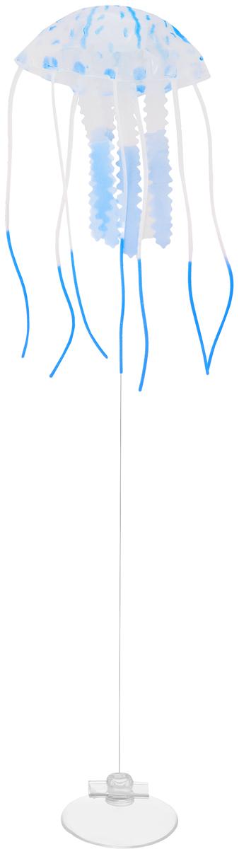 """Декорация для аквариума Barbus """"Медуза"""", малая, силиконовая, цвет: синий, 5 х 5 х 15 см"""