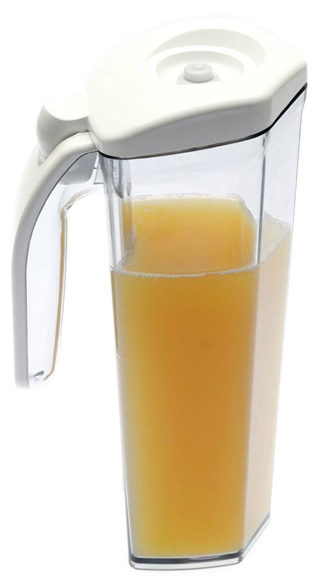 Status JUG 1, White кувшин вакуумныйJUG 1 WhiteВакуумный кувшин Status JUG 1 подходит для хранения соков, молока и других напитков, что продлевает их срок годности, сохраняет аромат и вкус. Форма кувшина разработана для удобного хранения на полке в дверце холодильника. Изготовлен из прочного хрустально-прозрачного аморфного пластика Eastman Tritan. Пригоден для замораживания (до -21 °C), мытья в посудомоечной машине, разогрева в СВЧ (без крышки). Для создания вакуума необходим вакуумный насос.