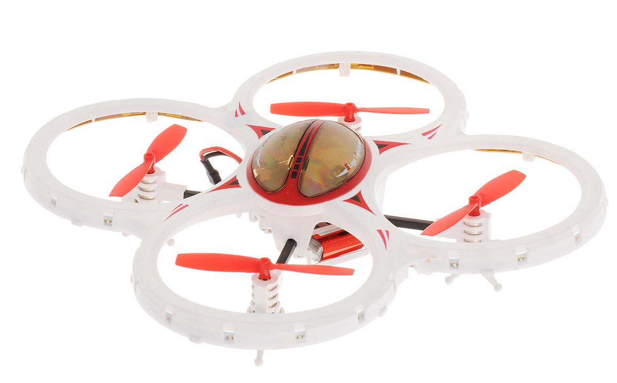 Властелин небес Квадрокоптер на радиоуправлении Звездочка цвет красный белыйred-white/astBH3447Квадрокоптер на радиоуправлении Властелин небес Звездочка увлечет в полет не только ребенка, но и взрослого. Легкий в управлении квадрокоптер отлично держится в воздухе даже в ветреную погоду. Стильный корпус игрушки выполнен в белом цвете и имеет четыре красных винта. 6-осевой гироскоп гарантирует высокую стабильность в полете. Имеются световые эффекты. Квадрокоптер предназначен для запуска в помещении и на открытом воздухе. Функции: Вверх, вниз, вперед, назад, повороты, вращение, зависание, сальто 360°, турбо-ускорение, режим автоориентации. Управляется квадрокоптер с помощью 4-канального дистанционного пульта на частоте 2,4GHz. Работает квадрокоптер от встроенного аккумулятора. Заряжается аккумулятор от порта USB (кабель зарядки в комплекте). Для работы пульта управления необходимы 4 батарейки типа АА напряжением 1,5V (не входят в комплект).