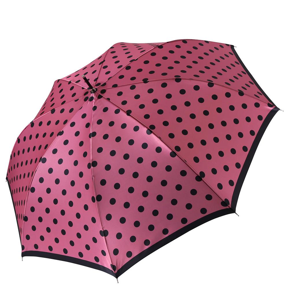Зонт женский Fabretti, цвет: розовый. 16141614Женский зонт-трость от итальянского бренда Fabretti. Конструкция модели выполнена из стали и фибергласса, поэтому устойчива к сильному ветру. Глубокий и невероятно женственный розовый цвет зонта сделает вас неотразимыми в любую непогоду, а классический и стильный принт горох дополнит любой современный образ! Материал купола – сатин. Он невероятно изящен, приятен на ощупь, обладает высокой прочностью, а также устойчив к выцветанию. Эргономичная ручка сделана из высококачественного пластика-полиуретана с противоскользящей обработкой!