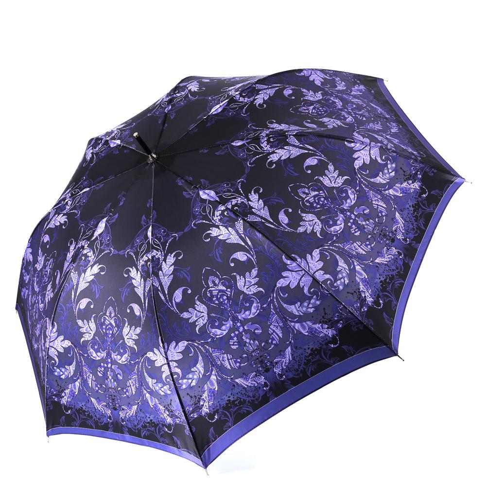 Зонт женский Fabretti, цвет: черный. 16201620Женский зонт-трость от итальянского бренда Fabretti. Конструкция модели выполнена из стали и фибергласса, поэтому устойчива к сильному ветру. Глубокий и насыщенный черный цвет в сочетании с ярким фиолетовым оттенком сделают вас неотразимой в любую непогоду, а изящный принт в виде элегантных завитков в стиле барокко дополнит любой современный образ! Материал купола – сатин. Он невероятно изящен, приятен на ощупь, обладает высокой прочностью, а также устойчив к выцветанию. Эргономичная ручка сделана из высококачественного пластика-полиуретана с противоскользящей обработкой!