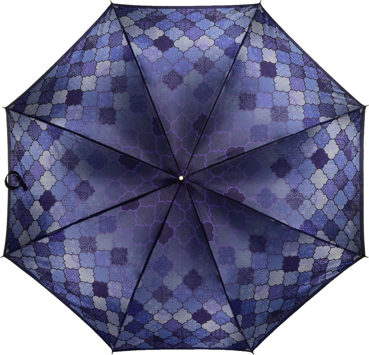 Зонт женский Fabretti, цвет: фиолетовый. 16221622Женский зонт-трость от итальянского бренда Fabretti. Конструкция модели выполнена из стали и фибергласса, поэтому устойчива к сильному ветру. Глубокий и насыщенный фиолетовый цвет зонта сделает вас неотразимыми в любую непогоду, а дизайнерский принты в виде геометрических ромбов дополнит любой современный образ! Материал купола – сатин. Он невероятно изящен, приятен на ощупь, обладает высокой прочностью, а также устойчив к выцветанию. Эргономичная ручка сделана из высококачественного пластика-полиуретана с противоскользящей обработкой!