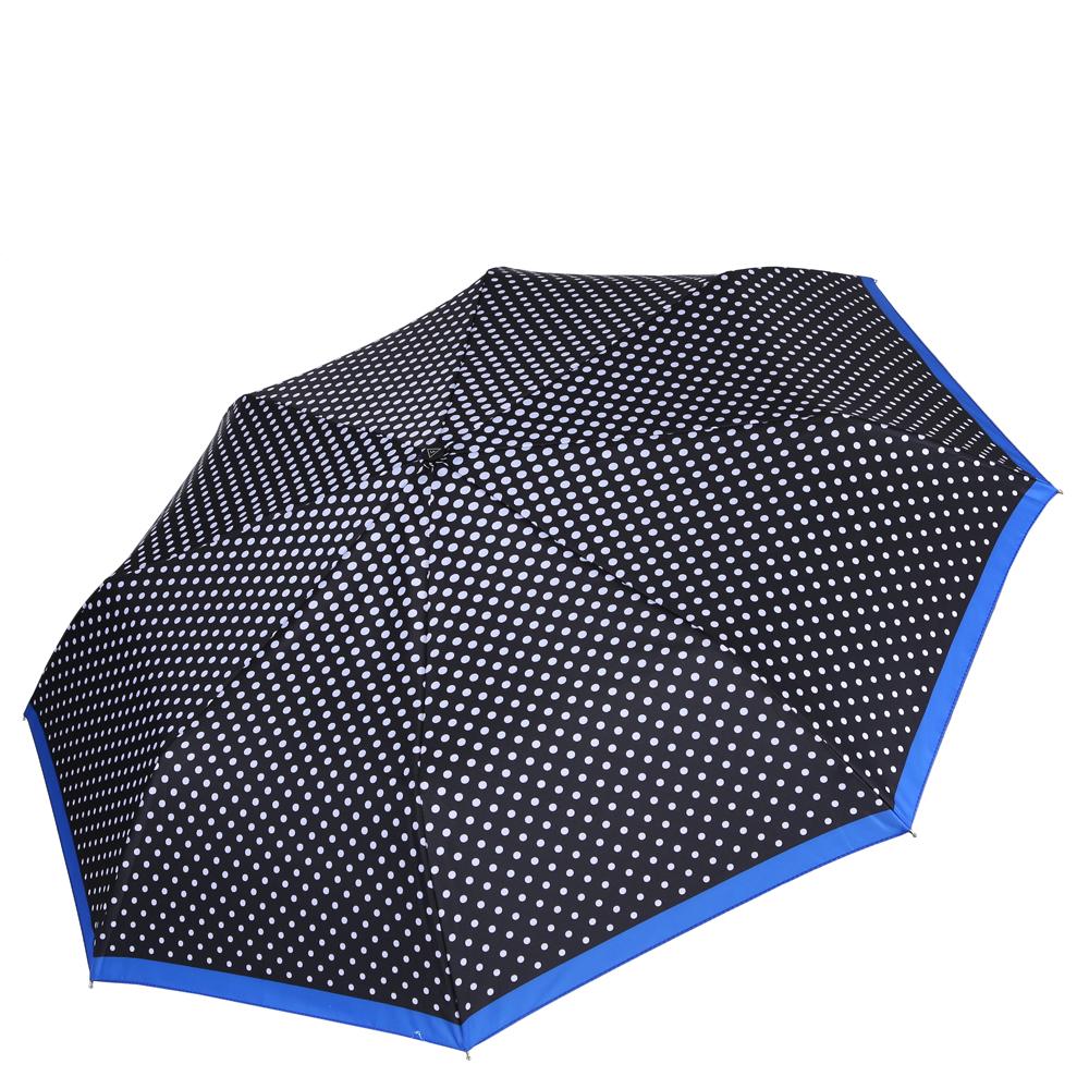 Зонт женский Fabretti, цвет: черный. L-16108-4L-16108-4Женский зонт от итальянского бренда Fabretti. Насыщенный черный цвет в сочетании с классическим и вечно модным принтом горох сделают вас неотразимыми в любую непогоду! Синяя окантовка края добавит изюминку и нотки элегантности к любому образу. Значительным преимуществом данной модели является система антиветер, которая позволяет выдержать сильные порывы ветра. Материал купола - эпонж, обладает высокой прочностью и износостойкостью. Вода на куполе из такого материала скатывается каплями вниз, а не впитывается, на нем практически не видны следы изгибов. Эргономичная ручка сделана из высококачественного пластика-полиуретана с противоскользящей обработкой.