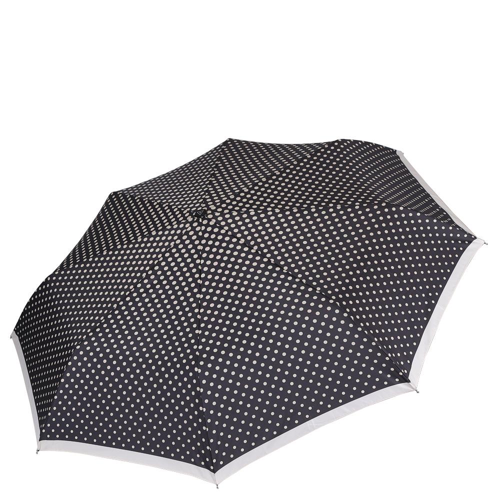 Зонт женский Fabretti, цвет: черный. L-16109-3L-16109-3Женский зонт от итальянского бренда Fabretti. Насыщенный темно-серый цвет в сочетании с классическим и вечно модным принтом горох сделают вас неотразимыми в любую непогоду! Бежевая окантовка края добавит изюминку и нотки элегантности к любому образу. Значительным преимуществом данной модели является система антиветер, которая позволяет выдержать сильные порывы ветра. Материал купола - эпонж, обладает высокой прочностью и износостойкостью. Вода на куполе из такого материала скатывается каплями вниз, а не впитывается, на нем практически не видны следы изгибов. Эргономичная ручка сделана из высококачественного пластика-полиуретана с противоскользящей обработкой.