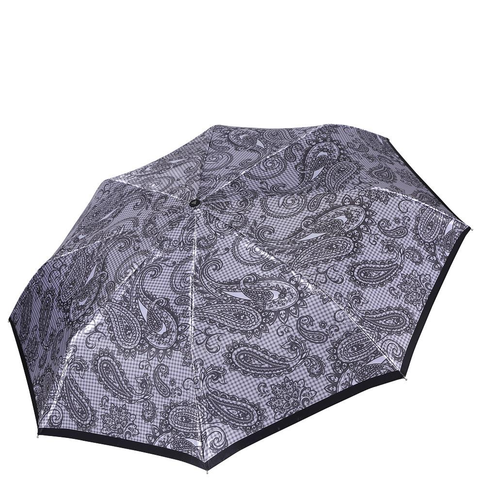 Зонт женский Fabretti, цвет: серый. L-16112-5L-16112-5Женский зонт от итальянского бренда Fabretti.Стильный серебряный цвет в сочетании с темно-сером принтом сделают вас неотразимыми в любую непогоду! Уникальное сочетание классической клетки и яркого принта пейсли позволил дизайнерам создать ультрамодный аксессуар, который понравится всем любительницам изыска и шика. Значительным преимуществом данной модели является система антиветер, которая позволяет выдержать сильные порывы ветра. Материал купола – сатин. Он невероятно изящен, приятен на ощупь, обладает высокой прочностью, а также устойчив к выцветанию. Эргономичная ручка сделана из высококачественного пластика-полиуретана с противоскользящей обработкой.