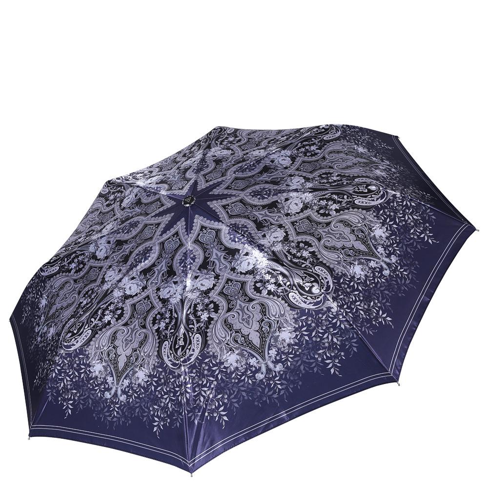 Зонт женский Fabretti, цвет: синий. S-16108-4S-16108-4Женский зонт от итальянского бренда Fabretti. Насыщенный темно-серый цвет в сочетании с пастельными серыми оттенками сделают вас неотразимыми в любую непогоду! Наши дизайнеры разработали уникальный принт, который включает в себя элегантный рисунок пейсли и нежные цветочные узоры. Именно он превращает модель в роскошный аксессуар, который придется по вкусу ценителям элегантного стиля. Значительным преимуществом данной модели является система антиветер, которая позволяет выдержать сильные порывы ветра. Материал купола – сатин. Он невероятно изящен, приятен на ощупь, обладает высокой прочностью, а также устойчив к выцветанию. Эргономичная ручка сделана из высококачественного пластика-полиуретана с противоскользящей обработкой.
