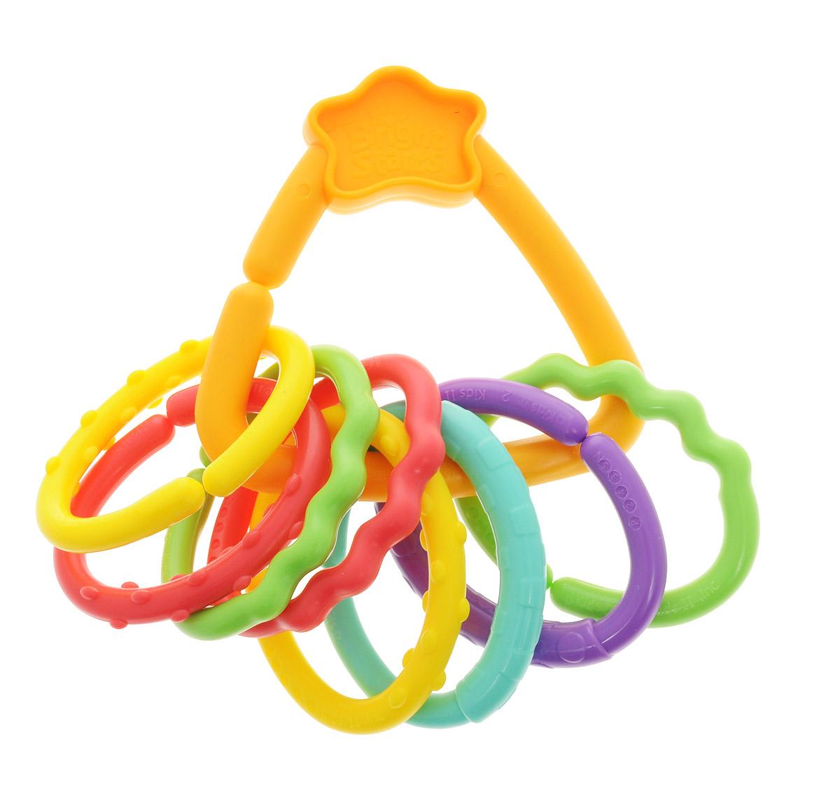 Bright Starts Развивающая игрушка Веселые колечки10228Яркая красочная игрушка Веселые колечки, непременно, привлечет внимание вашего малыша и не позволит ему скучать. Игрушка представляет собой треугольное кольцо-основу, к которому прикреплены восемь разноцветных разъемных колец. Колечки можно вешать на основу в любом порядке. Кольца выполнены из пластика с различными выступающими элементами. При помощи разъемных колец игрушку можно закрепить на кроватке или коляске. Игрушку можно использовать в качестве прорезывателя. Игрушка поможет вашему малышу познакомиться с основными цветами, развить мелкую моторику рук и координацию движений.