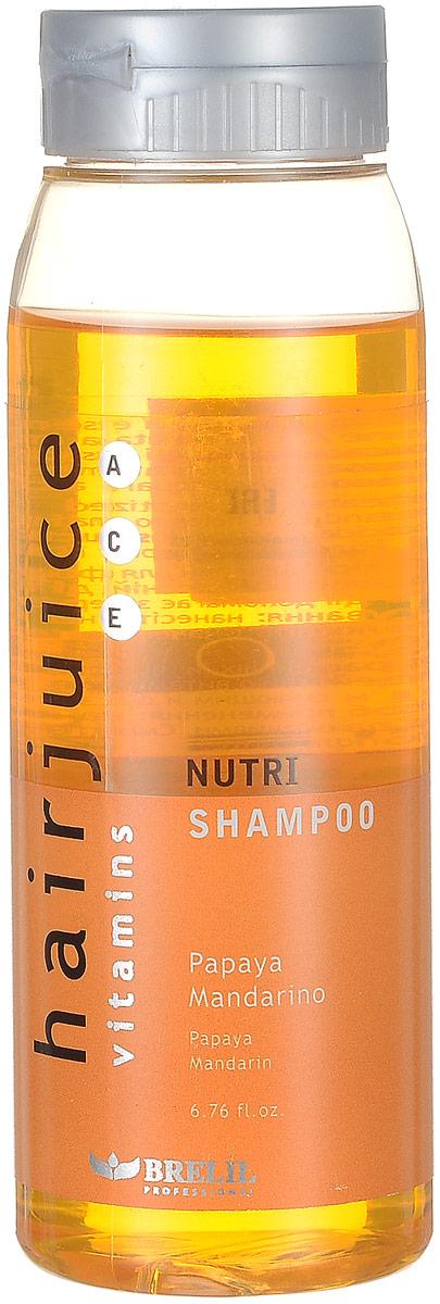Brelil Питательный шампунь для окрашенных волос HairJuice Nutri Shampoo, 200 млB044047Питательный шампунь Brelil Professional для окрашенных волос - эффективное средство для полноценного ухода за волосами. В состав косметического средства входят экстракты папайи и мандарина, а также комплекс витаминов A, C и E. Средство оказывает антиоксидантное действие, бережно питает и очищает волосы, оберегая их от внешних негативного влияний, придает им эластичность и блеск, делает более послушными и гладкими. Характерной особенностью шампуня Brelil Professional является его уникальное свойство сохранять цвет окрашенных волос на протяжении длительного времени.