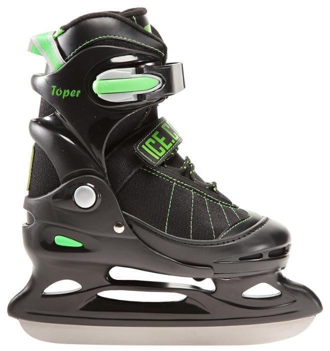 Коньки ледовые Ice.Com Toper 2014, раздвижные, цвет: черный, зеленый. Размер 38/41