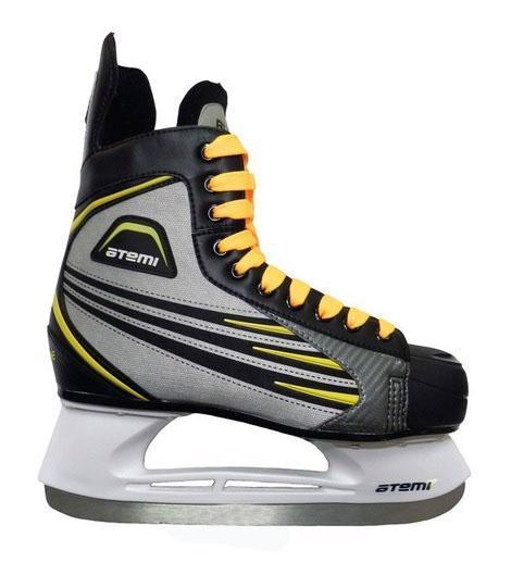 Коньки хоккейные мужские Atemi BLADE 2015, цвет: желтый, серый, черный. Размер 39Atemi BLADE 2015 Black-Grey-Yellow_39Ботинок выполнен из нейлона. Мысок и стакан изготовлены из морозоустойчивого пластика. Лезвие сделано из нержавеющей стали.