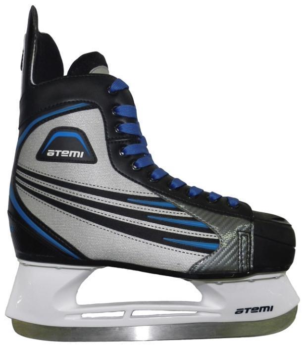 Коньки хоккейные мужские Atemi BLADE 2015, цвет: серый, синий, черный. Размер 36Atemi BLADE 2015 Black-Grey-Blue_36Ботинок выполнен из нейлона. Мысок и стакан изготовлены из морозоустойчивого пластика. Лезвие сделано из нержавеющей стали.