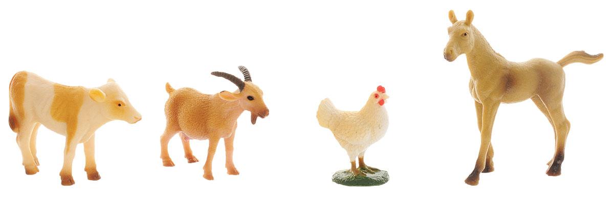 Ami&Co Набор фигурок Ферма 4 шт17695, 9612Набор фигурок Ami&Co Ферма отличный подарок для вашего малыша. Набор познакомит ребенка с разными видами домашних животных, живущих на ферме. В комплект входят фигурки теленка, лошади, козы и курочки. Фигурки можно использовать в качестве наглядного пособия при изучении животного мира. Изделия изготовлены из безопасного материала, не токсичны и не вызывают аллергию.