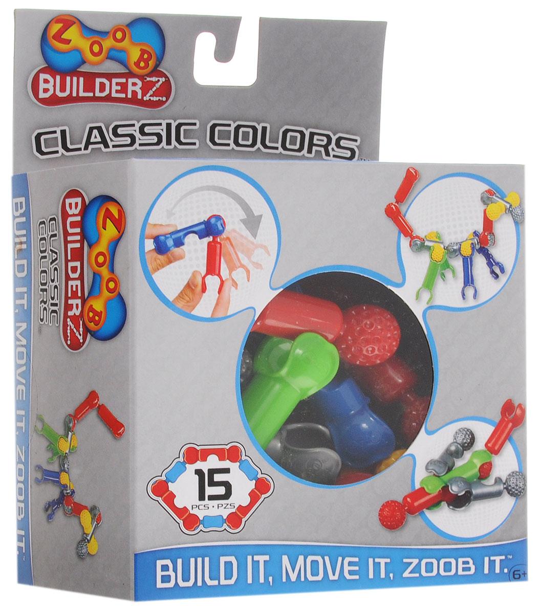 Zoob Конструктор Classic Colors 1101511015Пластиковый конструктор Zoob Classic Colors содержит немного деталей, поэтому подходит для первого знакомства с этими конструкторами. Конструктор Zoob Classic Colors также можно взять в дорогу, чтобы малышу было чем заниматься в самолете или поезде (такое количество деталей не займет много места, но позволяет построить небольшие интересные модели). Конструкторы Zoob рекомендованы детям с 6 лет. Данное возрастное ограничение основано на том, что пространственное мышление у ребенка, по мнению специалистов, начинает развиваться именно с этого возраста. Во всех наборах Zoob содержатся 5 видов пластиковых деталей необычной формы. Они соединяются между собой 20-ю различными способами. Соединения деталей могут быть как неподвижными, так и подвижными. При подвижном соединении детали конструктора, защелкиваясь, образуют подобие суставов. Поэтому ребенок может не только собирать конструктор, но играть с ним после, как с обычной игрушкой. Собирать можно все, что угодно....