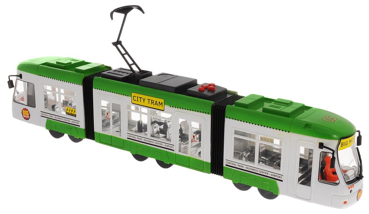 Big Motors Городской трамвай цвет зеленый белый1258Игрушка Big motors Городской трамвай, не оставит равнодушным вашего малыша. Выполненный из пластика трамвай оснащен световыми и звуковыми эффектами, которые активируются с помощью кнопок на крыше: квадрат - объявление остановки (на английском); круг - звучит песенка, и трамвай едет; треугольники - движение вперед и назад. Токоприемник трамвая подвижный, можно регулировать его высоту и наклон. Ваш ребенок будет часами играть с этой игрушкой, придумывая различные истории. Порадуйте его таким замечательным подарком! Для работы игрушки необходимы 3 батарейки типа АА напряжением 1,5V (товар комплектуется демонстрационными).