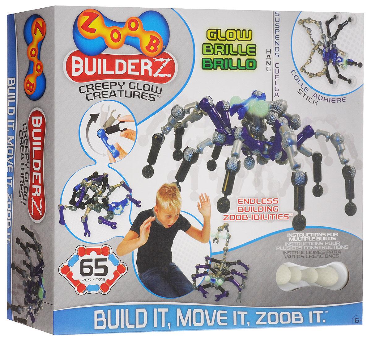 Zoob Конструктор Creepy Glow Creatures14003Они висят, они ползают, и они передвигаются по вашей стене! С пластиковым конструктором Zoob Creepy Glow Creatures вы сможете оживить самые страшные фантазии из своего воображения. Ваш дом наполнится страшными монстрами, которые будут светиться в темноте! В состав набора входят 65 элементов конструктора и инструкция по созданию 8 жутких монстров: пауков, скорпионов, крабов и др. Конструкторы Zoob рекомендованы детям с 6 лет. Данное возрастное ограничение основано на том, что пространственное мышление у ребенка, по мнению специалистов, начинает развиваться именно с этого возраста. Во всех наборах Zoob содержатся 5 видов пластиковых деталей необычной формы. Они соединяются между собой 20-ю различными способами. Соединения деталей могут быть как неподвижными, так и подвижными. При подвижном соединении детали конструктора, защелкиваясь, образуют подобие суставов. Поэтому ребенок может не только собирать конструктор, но играть с ним после, как с обычной игрушкой. Собирать...