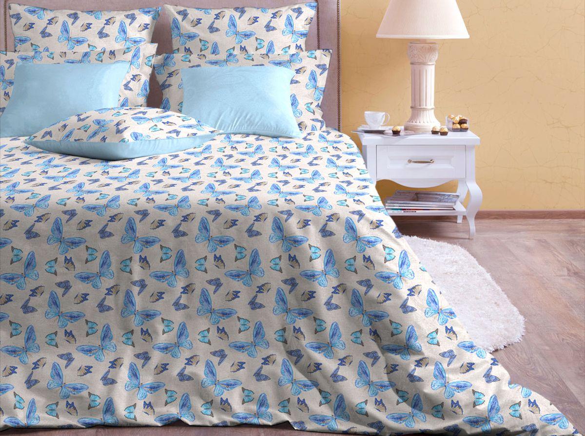 Комплект белья Хлопковый Край Бабочки, 2-спальный, наволочки 70x7020б-1ХКссКомплект постельного белья выполнен из качественной бязи и украшен оригинальным рисунком. Комплект состоит из пододеяльника, простыни и двух наволочек. Бязь представляет из себя хлопчатобумажную матовую ткань (не блестит). Главные отличия переплетения: оно плотное, нити толстые и частые. Из-за этого материал очень прочный и практичный. Постельное белье Хлопковый Край экологичное, гипоаллергенное, оно легко стирается и гладится, не сильно мнется и выдерживает очень много стирок, при этом сохраняя яркость цвета и рисунка.