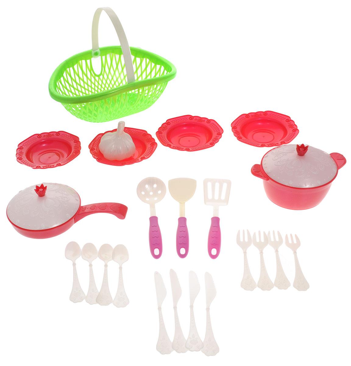 Нордпласт Игрушечный набор посуды Кухонный сервиз Волшебная хозяюшка цвет зеленый красный