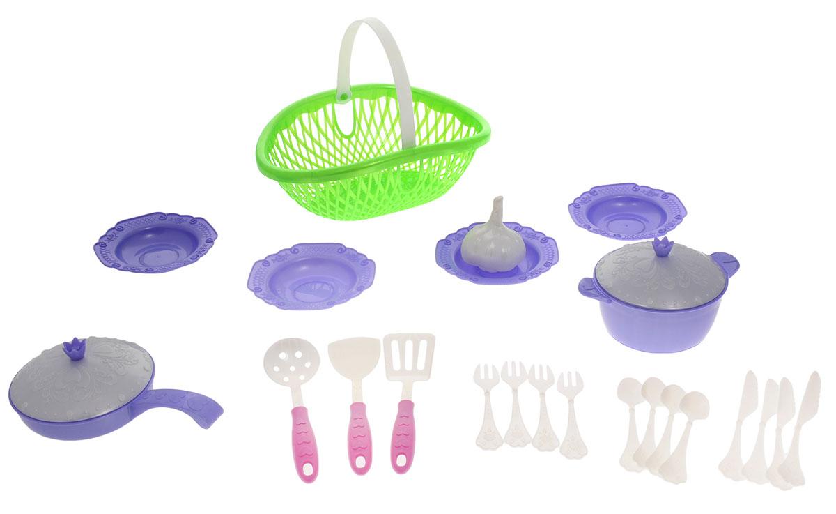 Нордпласт Игрушечный набор посуды Кухонный сервиз Волшебная хозяюшка цвет зеленый сиреневый