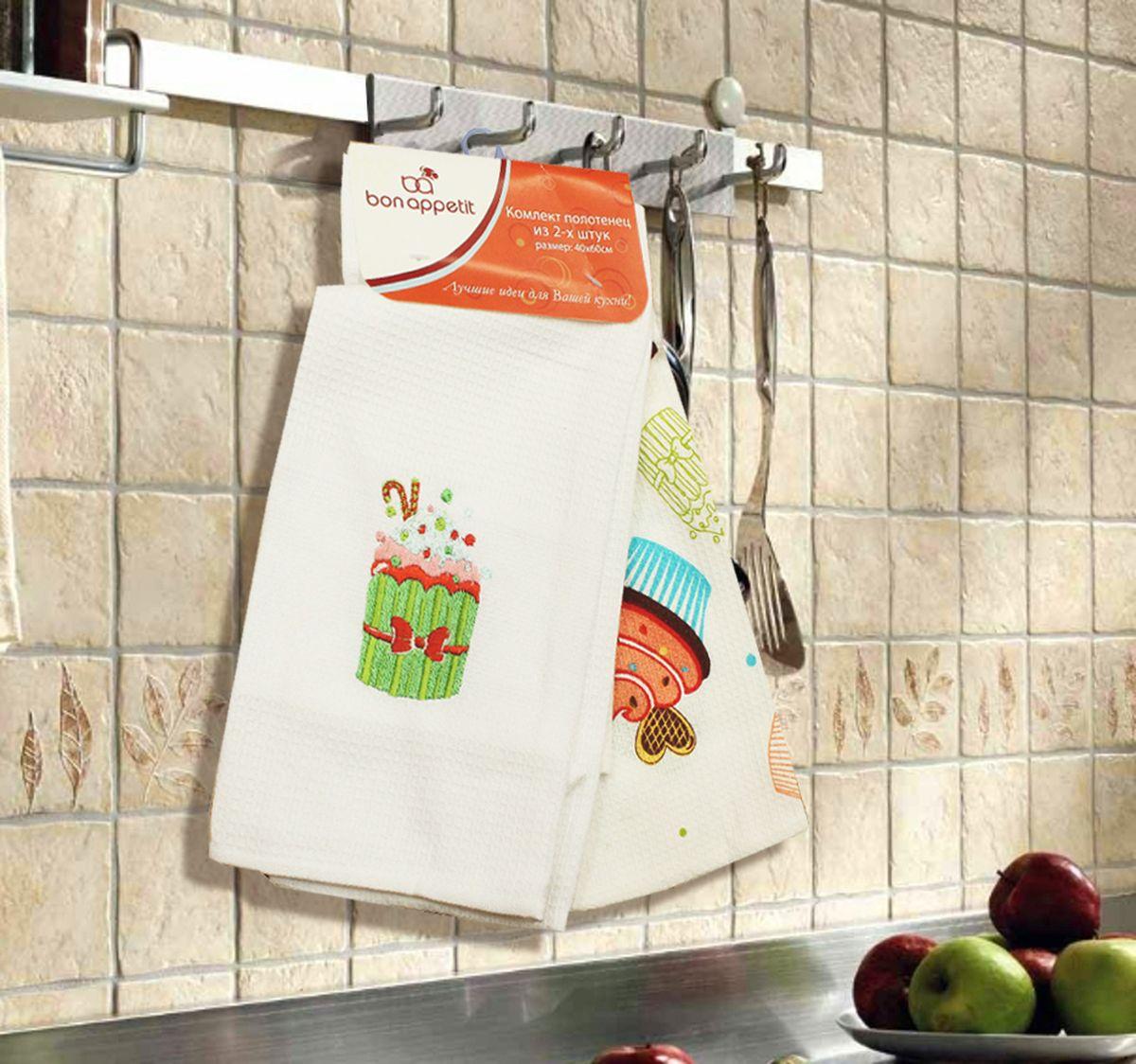 Набор кухонных полотенец Bon Appetit Cake, цвет: зеленый, 2 шт68107Кухонные Полотенца Bon Appetit - В помощь хозяйке на кухне!!! Кухонные Полотенца Bon Appetit идеально дополнят интерьер вашей кухни и создадут атмосферу уюта и комфорта. Полотенца выполнены из натурального 100% Хлопка, поэтому являются экологически чистыми. Качество материала гарантирует безопасность не только взрослых, но и самых маленьких членов семьи. Bon Appetit – Интерьер и Практичность Современной Кухни!