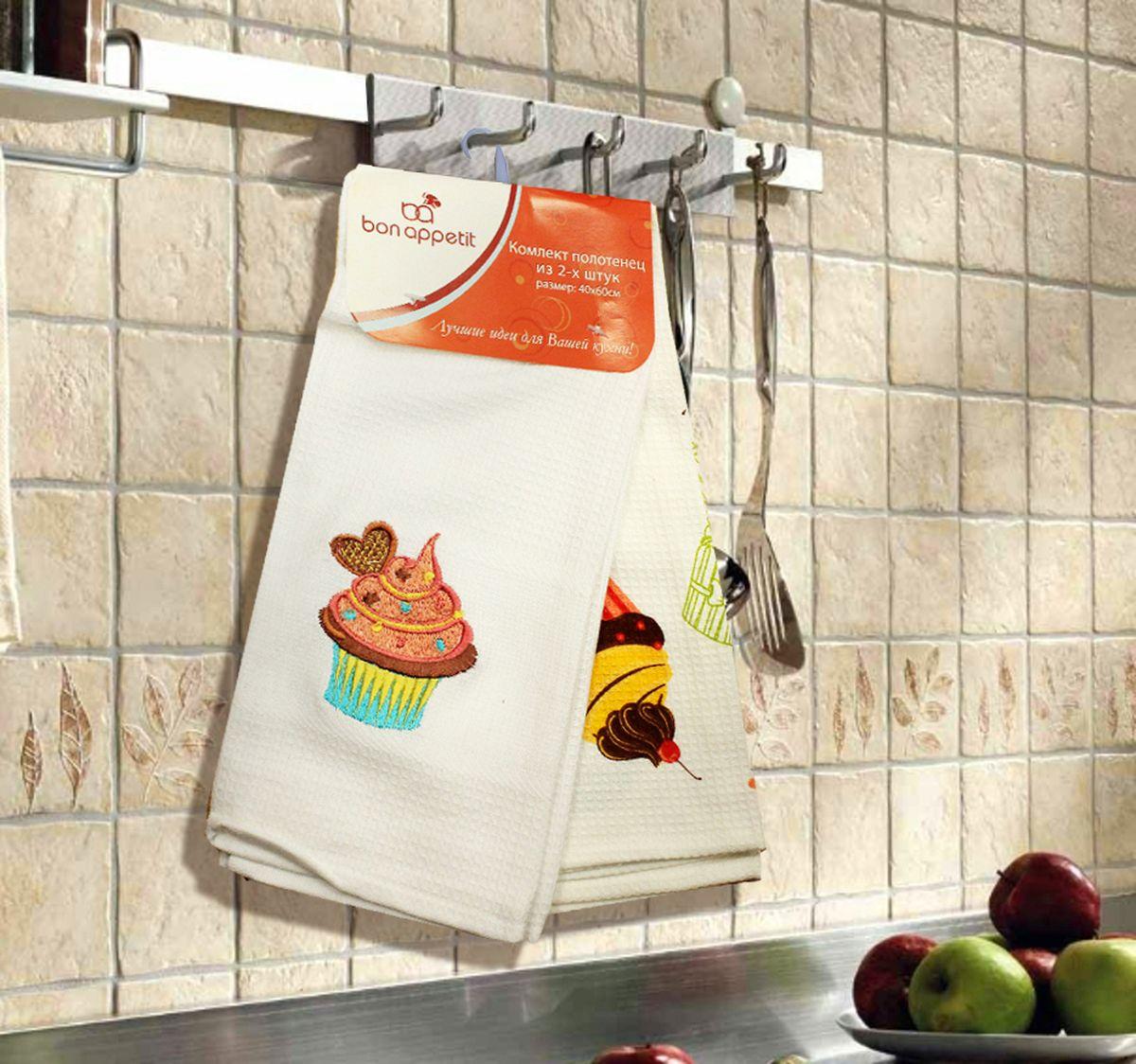 Набор кухонных полотенец Bon Appetit Cake, цвет: синий, 2 шт68108Кухонные полотенца Bon Appetit Cake идеально дополнят интерьер вашей кухни и создадут атмосферу уюта и комфорта. Полотенца выполнены из натурального 100% хлопка, поэтому являются экологически чистыми. Качество материала гарантирует безопасность не только взрослых, но и самых маленьких членов семьи. Размер полотенца: 40 х 60 см. В комплекте: 2 полотенца.