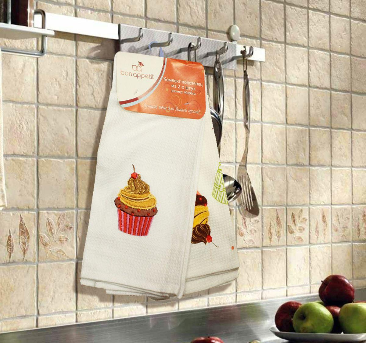 Набор кухонных полотенец Bon Appetit Cake, цвет: красный, 2 шт68109Кухонные Полотенца Bon Appetit - В помощь хозяйке на кухне!!! Кухонные Полотенца Bon Appetit идеально дополнят интерьер вашей кухни и создадут атмосферу уюта и комфорта. Полотенца выполнены из натурального 100% Хлопка, поэтому являются экологически чистыми. Качество материала гарантирует безопасность не только взрослых, но и самых маленьких членов семьи. Bon Appetit – Интерьер и Практичность Современной Кухни!