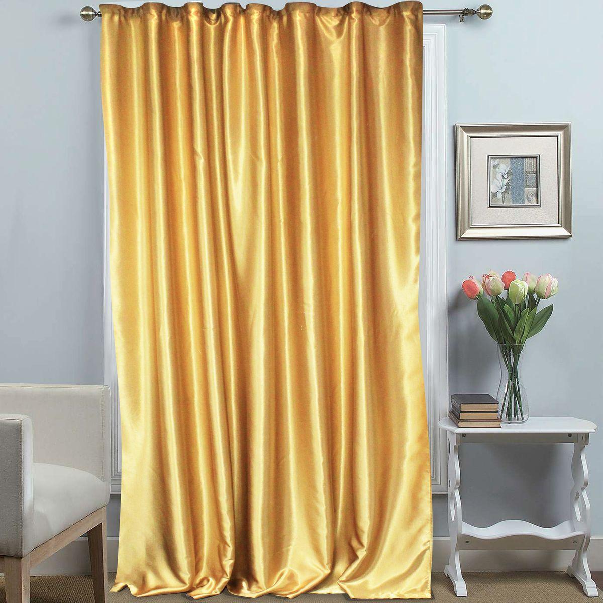 Штора Amore Mio, на ленте, цвет: золото, высота 270 см. 6971569715Однотонная штора на ленте Amore Mio с золотым теплым блеском украсит любое окно. Изделие изготовлено из 100% полиэстера. Полиэстер - вид ткани, состоящий из полиэфирных волокон. Ткани из полиэстера легкие, прочные и износостойкие. Такие изделия не требуют специального ухода, не пылятся и почти не мнутся.