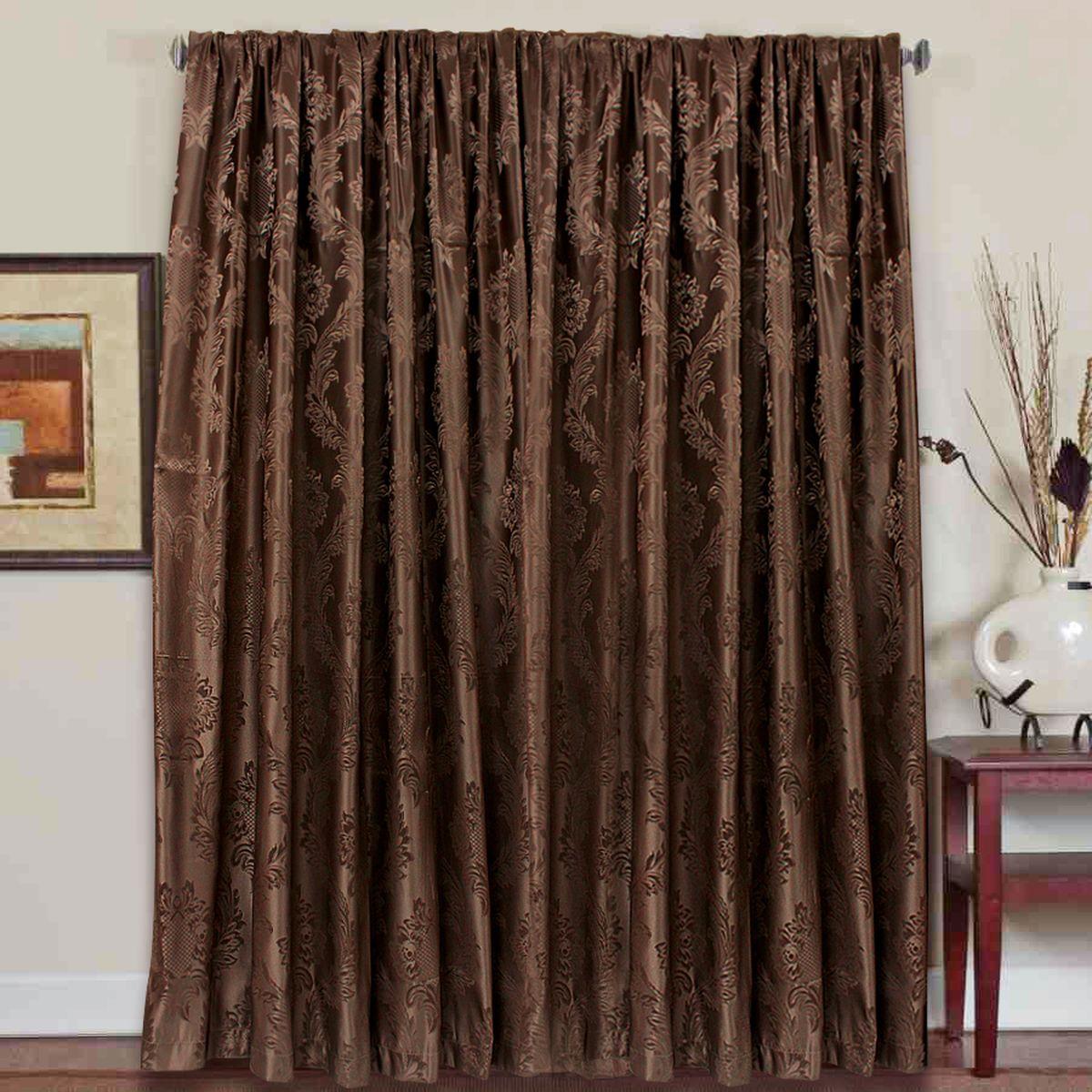 Штора Amore Mio, на ленте, цвет: коричневый, высота 270 см. 7762877628Штора на ленте Amore Mio с изящным узором вензель украсит любое окно. Рельефный рисунок имеет изысканный блеск. Изделие изготовлено из 100% полиэстера. Полиэстер - вид ткани, состоящий из полиэфирных волокон. Ткани из полиэстера легкие, прочные и износостойкие. Такие изделия не требуют специального ухода, не пылятся и почти не мнутся.