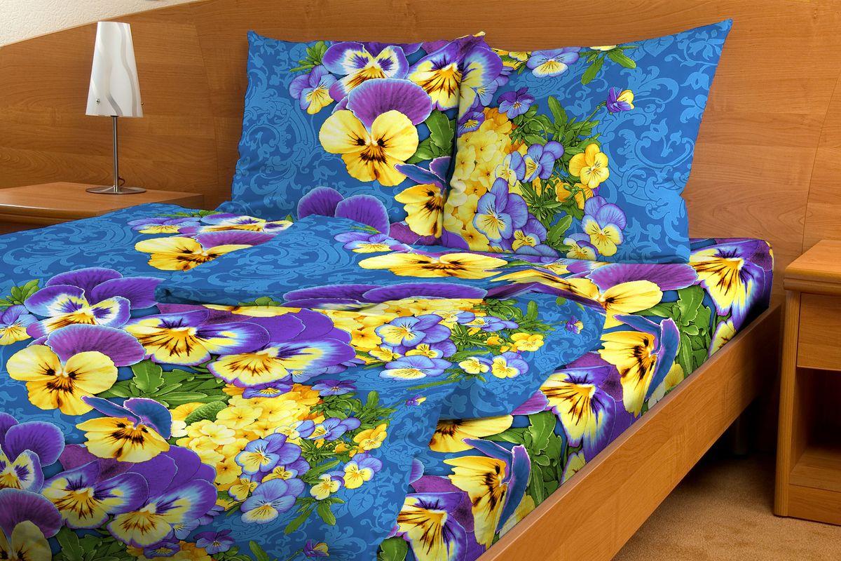 Комплект белья Amore Mio Viola, 1,5-спальный, наволочки 70x70, цвет: синий, фиолетовый, желтый80780Постельное белье из бязи практично и долговечно, а самое главное - это 100% хлопок! Материал великолепно отводит влагу, отлично пропускает воздух, не капризен в уходе, легко стирается и гладится. Новая коллекция Naturel 3-D дизайнов позволит выбрать постельное белье на любой вкус!