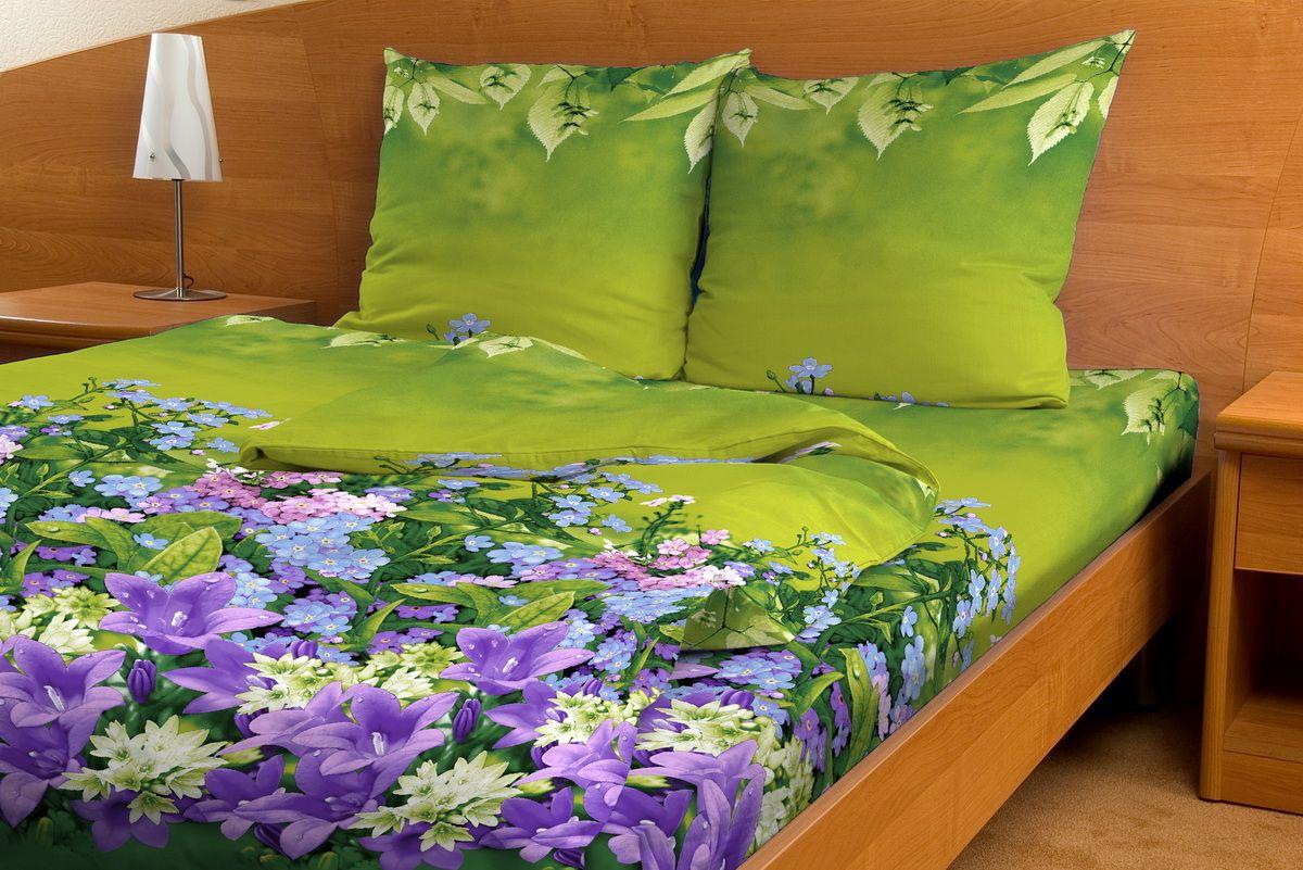 Комплект белья Amore Mio Assorti, 1,5-спальный, наволочки 70x70, цвет: зеленый, фиолетовый80800Постельное белье из бязи практично и долговечно, а самое главное - это 100% хлопок! Материал великолепно отводит влагу, отлично пропускает воздух, не капризен в уходе, легко стирается и гладится. Новая коллекция Naturel 3-D дизайнов позволит выбрать постельное белье на любой вкус!