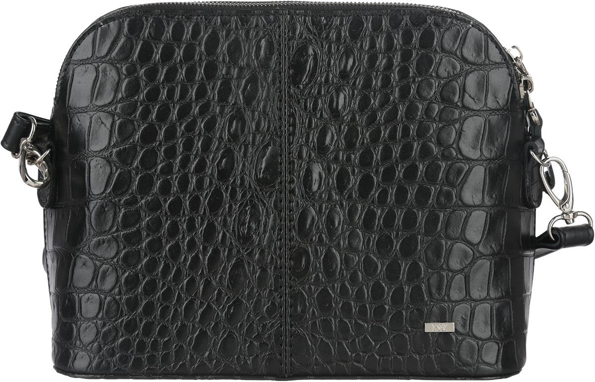 Сумка женская Esse Ребекка, цвет: черный. GREB2U-00ML09-C1801O-K100GREB2U-00ML09-C1801O-K100Небольшая женская сумка жесткой конструкции Esse Ребекка изготовлена из натуральной кожи, оформлена тиснением под кожу крокодила и металлической пластиной логотипа бренда. Модель создана для женщин, ценящих оригинальный дизайн в сочетании с функциональностью и комфортом. Сумка состоит из одного отделения и закрывается на металлическую застежку-молнию. Модель содержит врезной карман на молнии и накладной карман для мелочей и телефона. На задней стенке предусмотрен врезной карман на молнии. Сумка оснащена съёмным плечевым ремнем, регулируемой длины. Плоское дно сумки придает изделию устойчивость. Прилагается текстильный фирменный чехол для хранения. Оригинальный аксессуар позволит вам завершить образ и быть неотразимой.