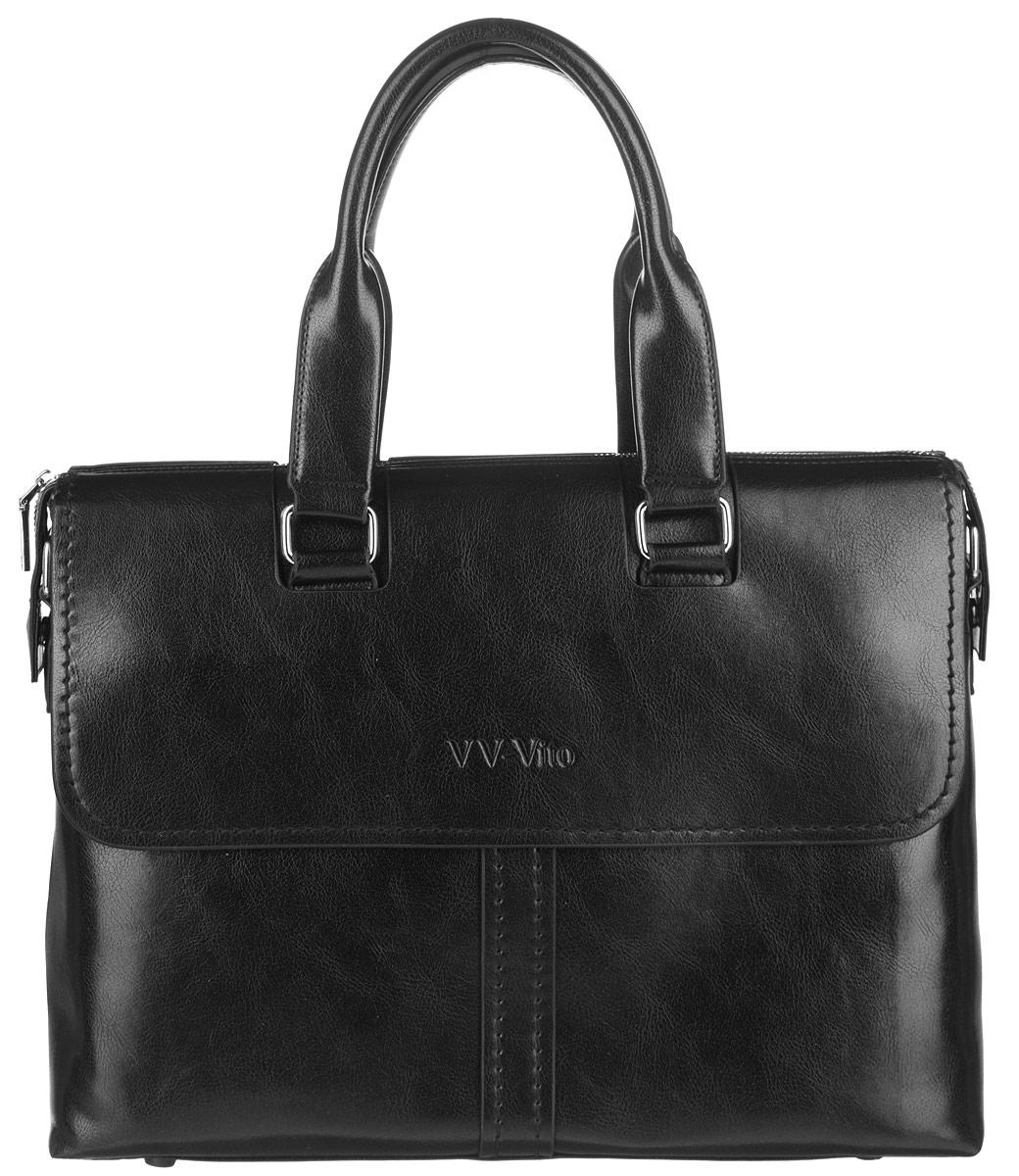 Сумка мужская Vera Victoria Vito, цвет: черный. 35-609-135-609-1Стильная мужская сумка Vera Victoria Vito выполнена из экокожи. Изделие имеет одно вместительное отделение, которое закрывается на застежку-молнию. Внутри сумки находятся прорезной карман на застежке-молнии, два открытых прорезных кармана и мягкий карман для планшета, закрывающийся на хлястик с липучкой. Снаружи, на передней и задней стенках расположены накладные карманы на магнитных кнопках, дополнительно закрывающиеся на клапаны с магнитами. Сумка оснащена двумя удобными ручками. В комплект входит съемный текстильный плечевой ремень, регулирующийся по длине. Основание изделия защищено от повреждений пластиковыми ножками. Стильная сумка идеально подчеркнет ваш неповторимый стиль.