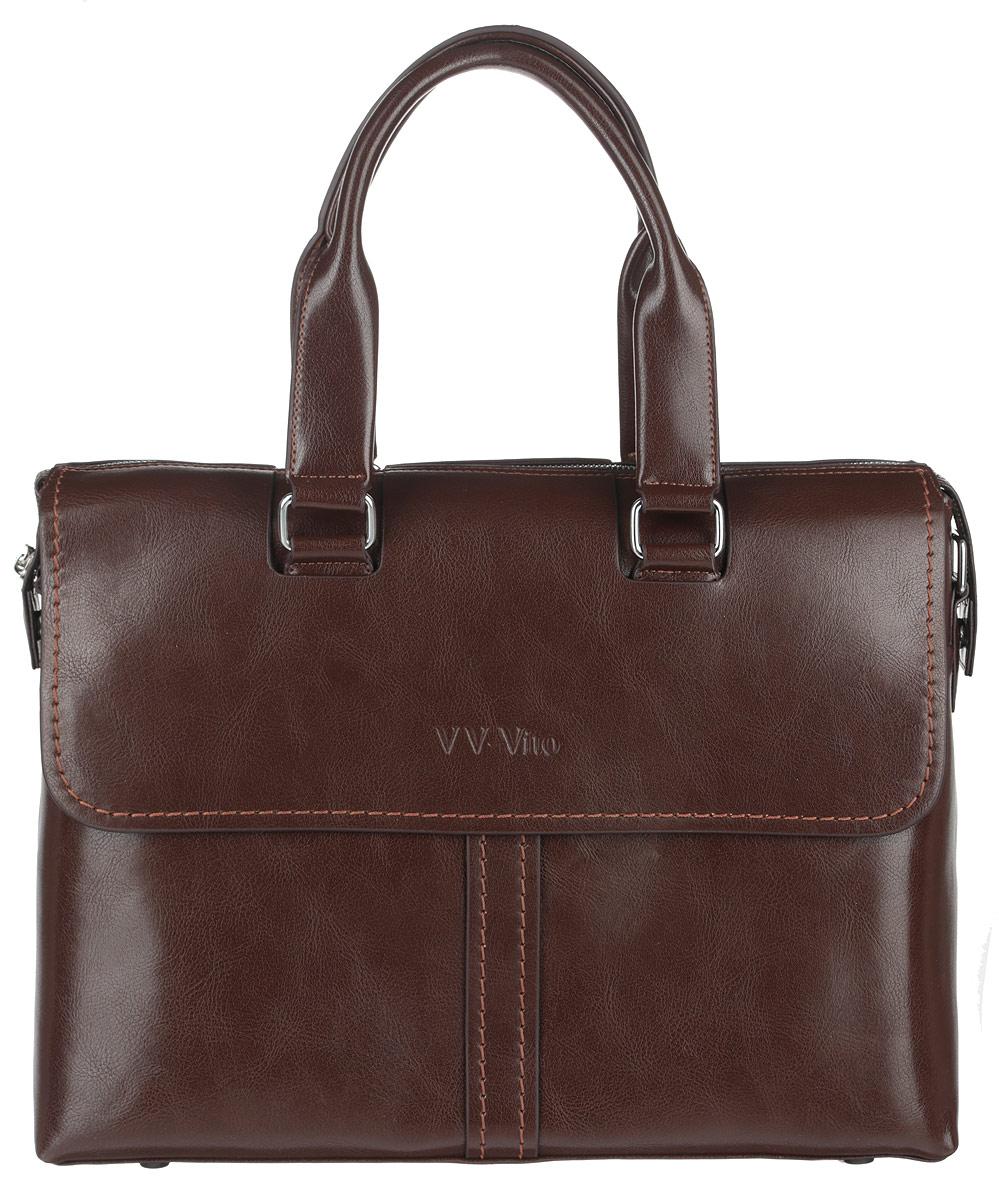 Сумка мужская Vera Victoria Vito, цвет: темно-коричневый. 35-609-635-609-6Стильная мужская сумка Vera Victoria Vito выполнена из экокожи. Изделие имеет одно вместительное отделение, которое закрывается на застежку-молнию. Внутри сумки находятся прорезной карман на застежке-молнии, два открытых прорезных кармана и мягкий карман для планшета, закрывающийся на хлястик с липучкой. Снаружи, на передней и задней стенках расположены накладные карманы на магнитных кнопках, дополнительно закрывающиеся на клапаны с магнитами. Сумка оснащена двумя удобными ручками. В комплект входит съемный текстильный плечевой ремень, регулирующийся по длине. Основание изделия защищено от повреждений пластиковыми ножками. Стильная сумка идеально подчеркнет ваш неповторимый стиль.