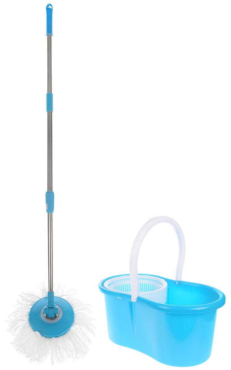Швабра-вертушка Bradex Торнадо Хенди, цвет: бирюзовый, белый, стальнойTD 0220_бирюзовый, белыйШвабра для пола Торнадо обладает крутящейся насадкой из микрофибры, обеспечивающей отличное впитывание грязи и жидкости во время уборки. Благодаря специальному ведру со встроенной центрифугой, уборка станет быстрой и гигиеничной, так как Вы сможете выжимать швабру в предназначенном для этого ведре, не пачкая руки При необходимости любую насадку можно стирать с помощью стиральной машины, а лёгкий вес и телескопическая ручка Торнадо делают швабру удобной в эксплуатации. Комплектация: швабра, 2 насадки из микрофибры, ведро, инструкция. Объём ведра: 5 л. Материал: пластик, металл, микрофибра. Тип отжима: механический. Вес: 1,08 кг. Размер: 45 х 30 х 28,5 см.