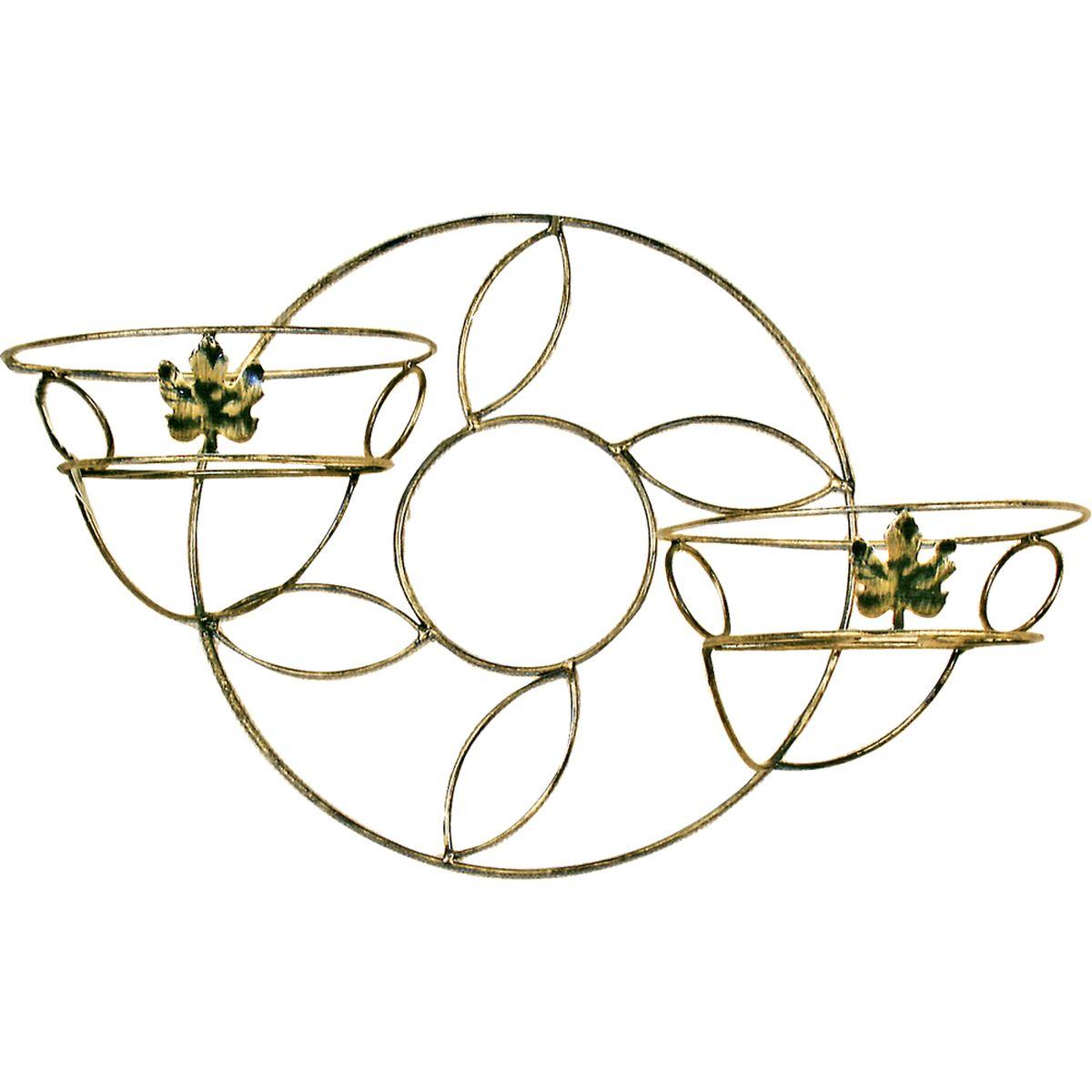 Подставка для цветов Фабрика ковки, настенная, на 2 цветка, цвет: черный, золотистый. 15-12215-122Кованная подставка станет прекрасным украшением любого интерьера. Подставка выполнена из металлических прутьев, цветом черное с золотым. Подставка декорирована кольцами и кленовыми листиками, предназначена для двух цветков. Корзинки при этом размещаются на разных уровнях, что позволяет создавать удивительные цветочные композиции