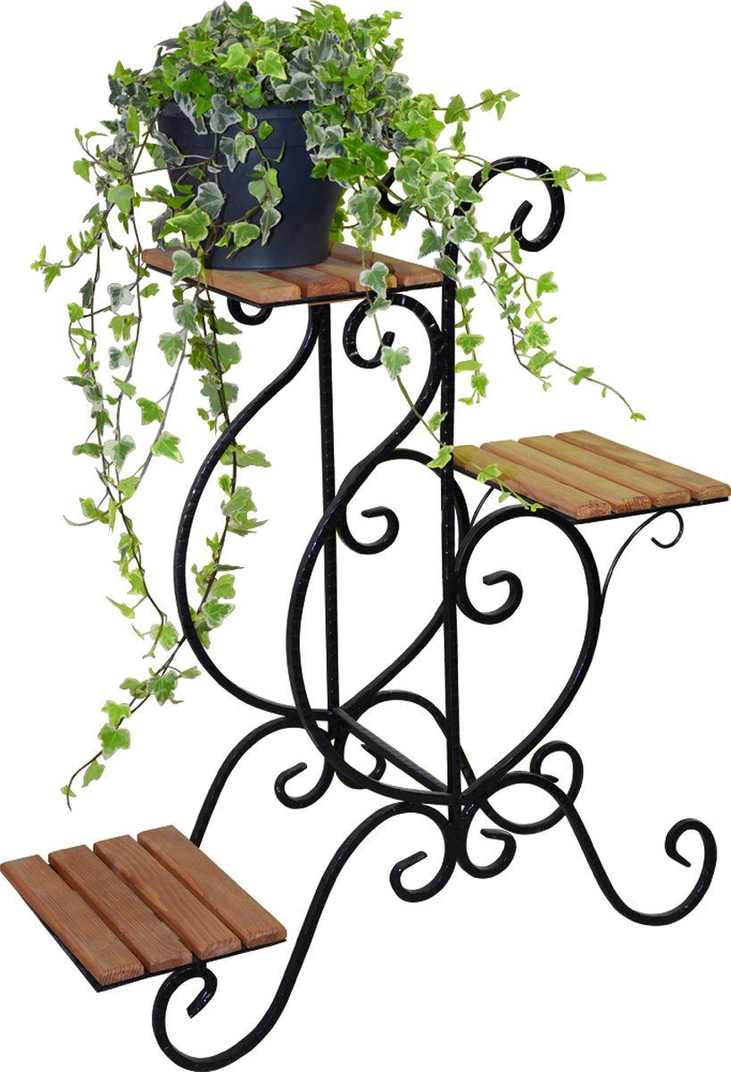 Подставка для цветов Фабрика ковки, на 3 цветка, цвет: черный, коричневый. 59-73359-733Подставка предназначена для размещения трех цветочных кашпо, одно размещается на верхнем уровне, два на нижнем. Подставка выполнена металла, окрашена в черный цвет. Ножки выполнены в виде завитков, на которых расположены подставки, выполненные из дерева.
